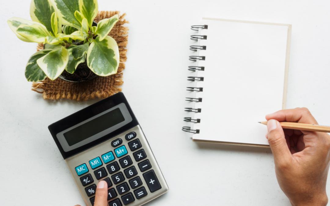Plante verte, calculatrice et carnet