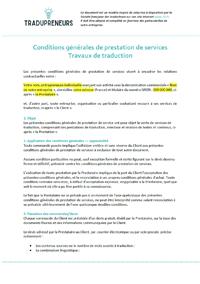 Modèle de conditions générales traduction