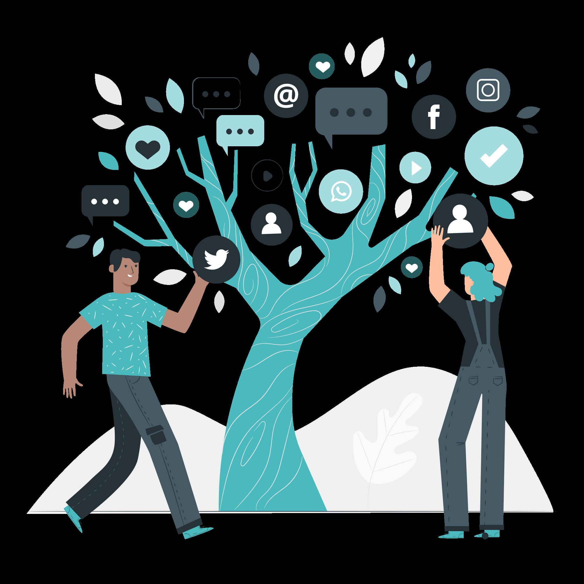 Illustration montrant deux personnages et un arbre de réseaux sociaux