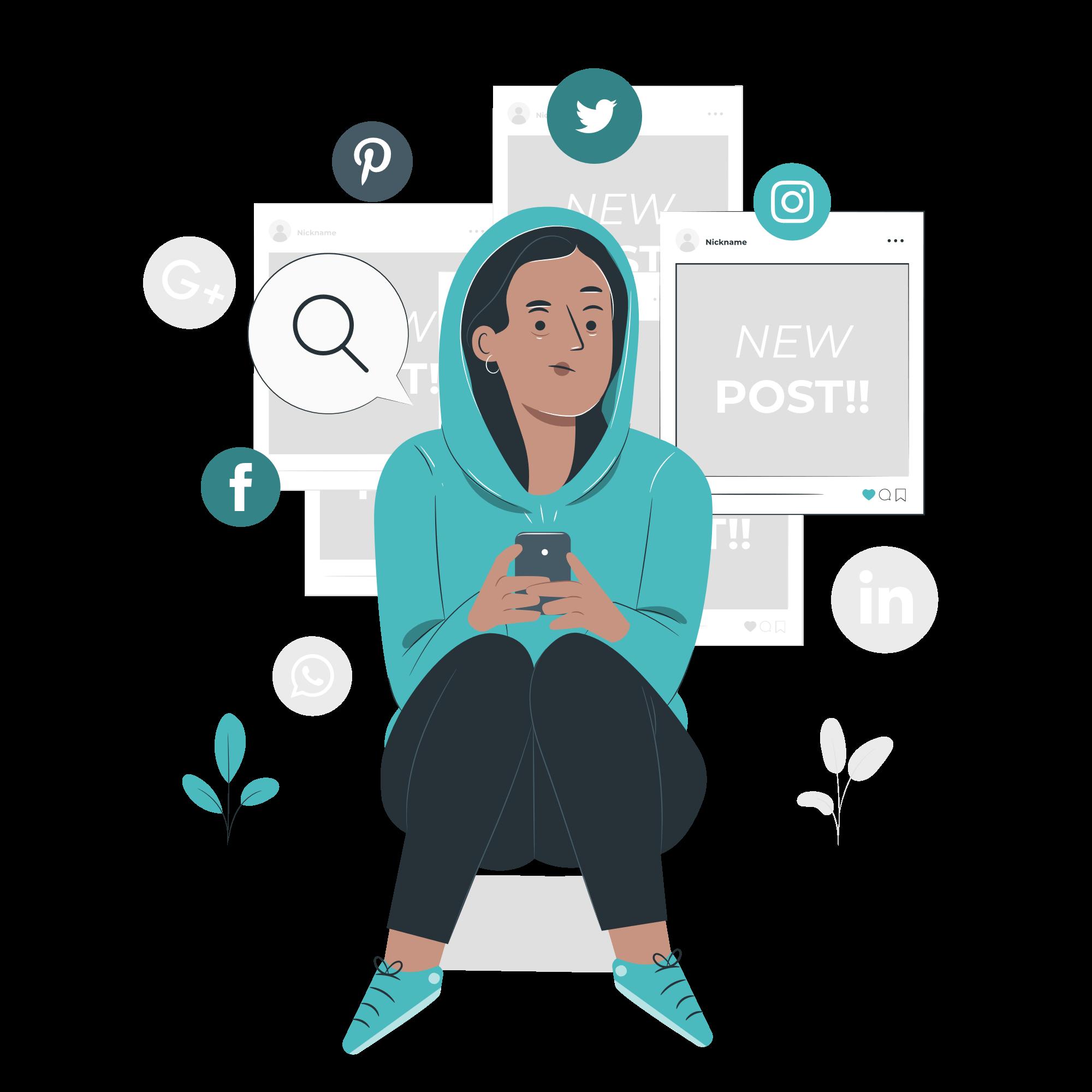 Illustration montrant une femme sur son téléphone en train de regarder ses réseaux sociaux