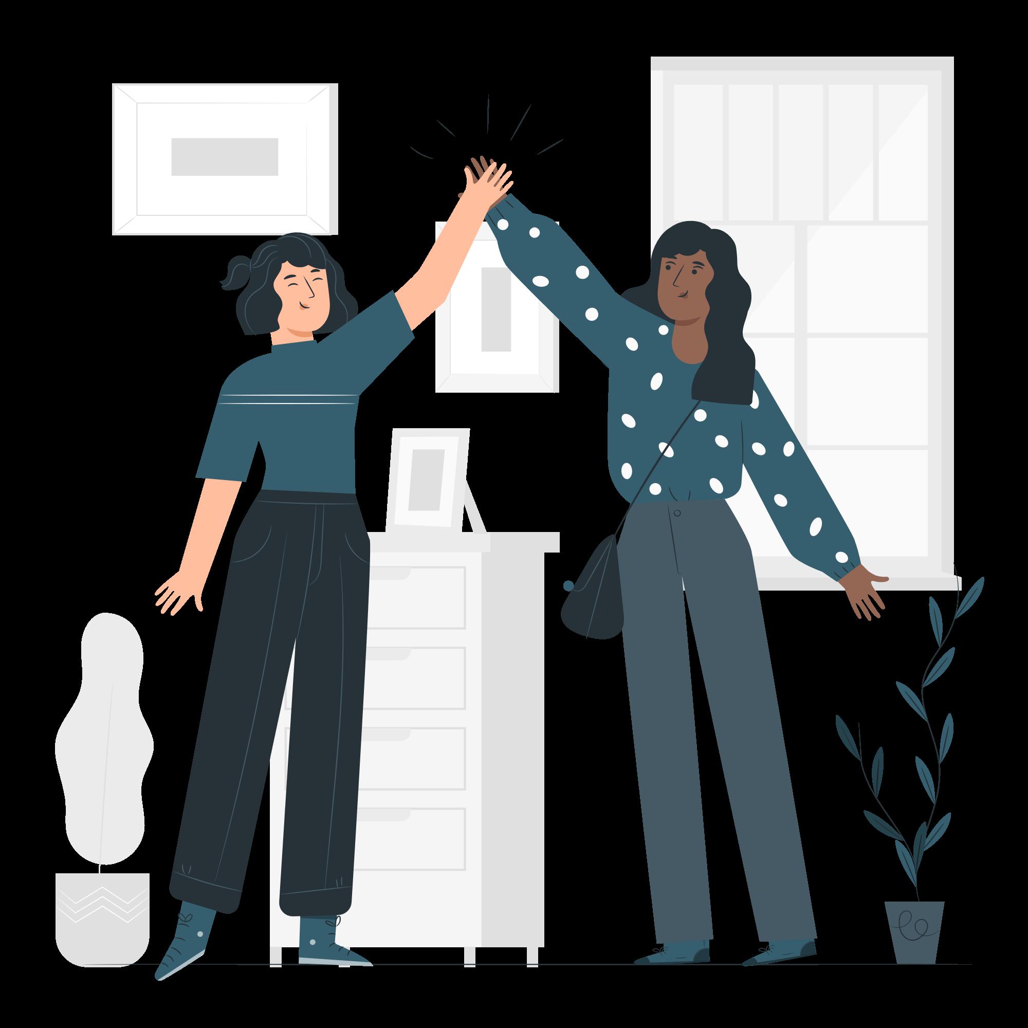 Deux femmes en train de se taper dans la main